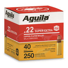 ** SPRING SUPER SALE **  Aguila Super Extra High Velocity - 250 Round Cube-.22LR - 40 Grain -  HV Copper Plated Solid Point ** IN STOCK NOW **