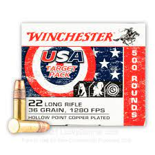 ** IN STOCK NOW **  Winchester 500 USA Target Value Pack .22LR - 36 Grain - Copper Plated Hollow Point - 500 Round Value Pack ** LIMITED QUANTITY - GOING FAST!! **